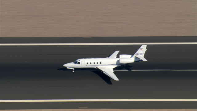 Executive jet taxiing and taking off