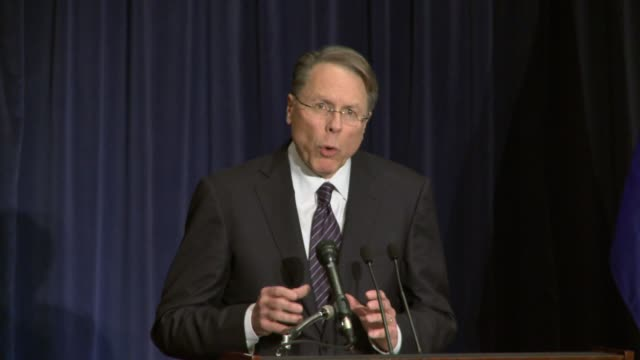 nra executive vice president wayne lapierre outlines organization's response to the sandy hook elementary school shooting gun control campaigners... - newtown connecticut stock videos & royalty-free footage
