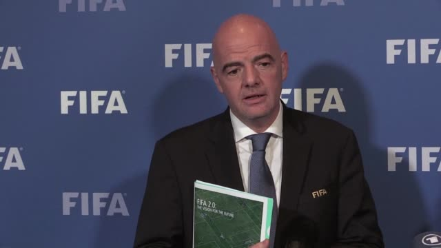 vídeos de stock, filmes e b-roll de fifa executives will make a final decision on world cup reform in january after weighing up three proposals as president gianni infantino pushes... - gianni infantino