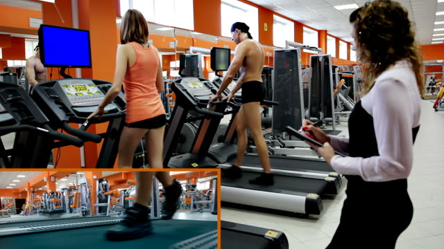 exercise on a treadmill - three people stock videos & royalty-free footage