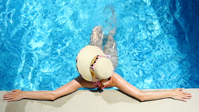exercising legs & relaxation in pool - hat stock videos and b-roll footage