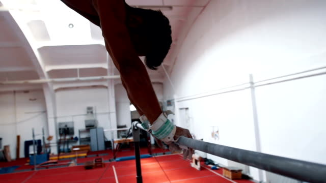 exersice on horizontal bar close up - horizontal bar stock videos and b-roll footage