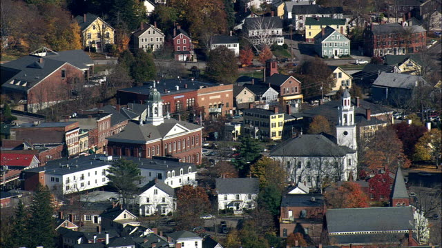 exeter  - aerial view - new hampshire,  rockingham county,  united states - new hampshire stock videos & royalty-free footage