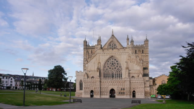 exeter cathedral west door evening time lapse - devon stock videos & royalty-free footage