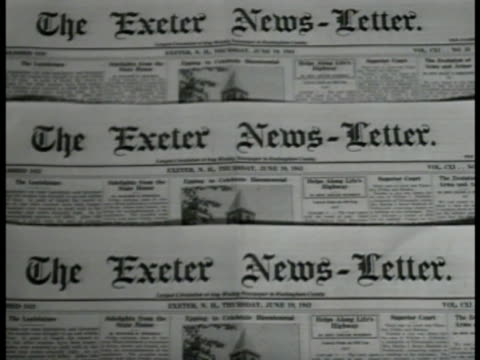 MS 'Exeter NewsLetter' window sign CU Newspapers INT WS News room men typing VS Photograph of editor John Templeton MS Editor Harry B Thayer Jr at...