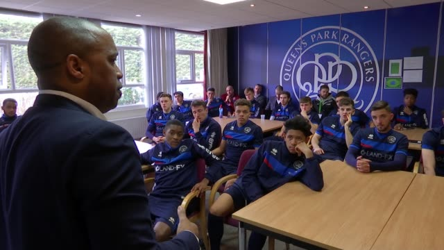 Exfootballer claims he used to shout racial slurs at players ENGLAND London INT Troy Townsend speaking in classroom SOT **Townsend speaking partly...