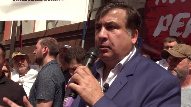 ExGeorgian president and former Odessa regional governor Mikheil Saakashvili speaks during the partys open air meeting and a rally of his supporters...