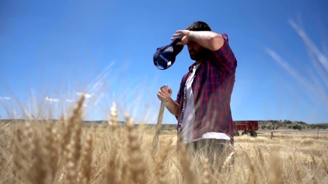vídeos de stock, filmes e b-roll de agricultor exausto - cansado