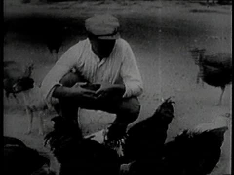 montage exheavyweight champion boxer james j jeffries showing visiting cigar smoking exheavyweight champ james j corbett around his farm / burbank... - 1924 stock videos and b-roll footage