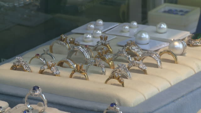 exhibit jewelry at the jewellery shop - ring jewelry stock videos and b-roll footage