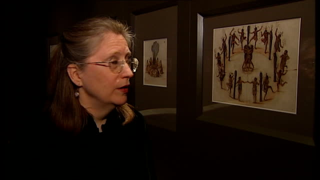 exhibition of 16th century pictures of colonial america; kim sloan interview sot - バンド アメリカ点の映像素材/bロール