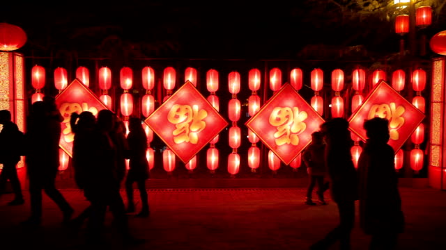 ms exhibition of festive lantern for chinese spring festival celebration. - paper lantern stock videos and b-roll footage
