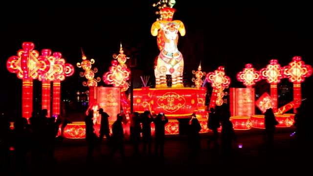 exhibition of festive lantern for the spring festival celebration. - chinese lantern festival stock videos and b-roll footage