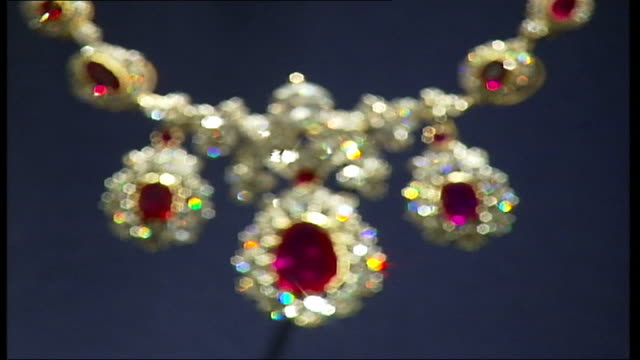 Exhibition of Queen's dresses and jewellery Diamond and ruby necklace on display in exhibition