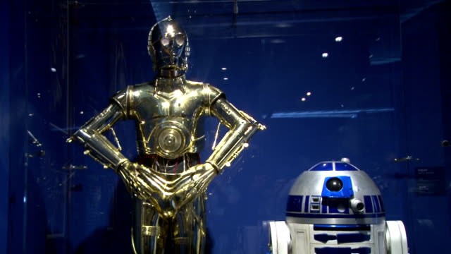 exhibition on star wars is going on at the roppongi hills building in the central tokyo to show the attractiveness of the popular movie around 100... - roppongi hills stock videos and b-roll footage