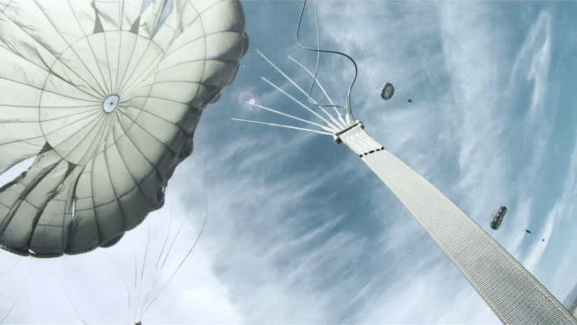 Exhilarated parachutist landing and reorganizing their gear