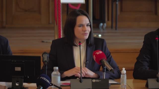 exiled belarusian opposition leader svetlana tikhanovskaya reacts to the movement winning the european parliament's sakharov prize for human rights - oresund region stock videos & royalty-free footage