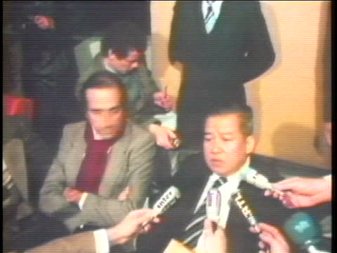 exiled cambodian leader, norodom prince sihanouk, talks with the press about military aid from france. - politics and government stock videos & royalty-free footage