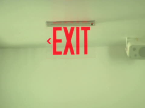 ms, exit sign on glass door - exit sign stock videos & royalty-free footage