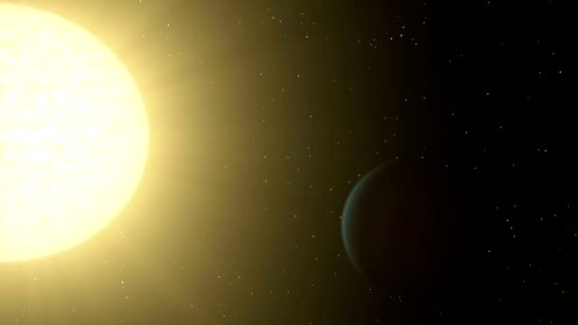 Exoplanet 55 Cancri orbiting star, animat
