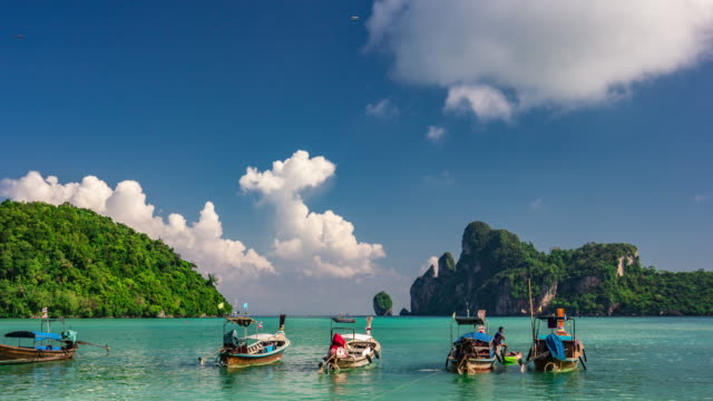 exotic view at tropical destination of phi phi islands, andaman sea, thailand  in supreme quality (4k/uhd to hd) - stock video - phi phi islands stock videos & royalty-free footage