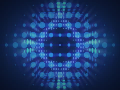 vídeos de stock e filmes b-roll de expanding blue circular pattern - multimédia