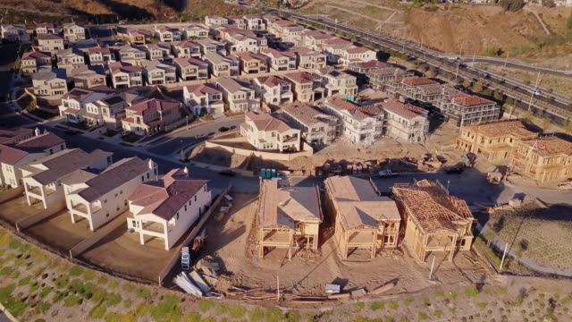 expanding housing development - aerial view - santa clarita stock videos and b-roll footage