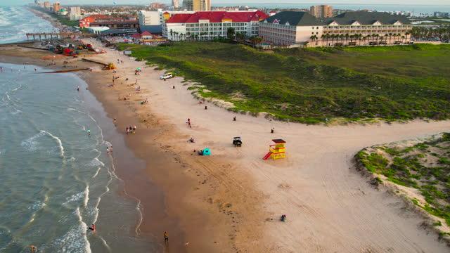expanding padre island texas a popular texas destination - corpus christi texas stock videos & royalty-free footage