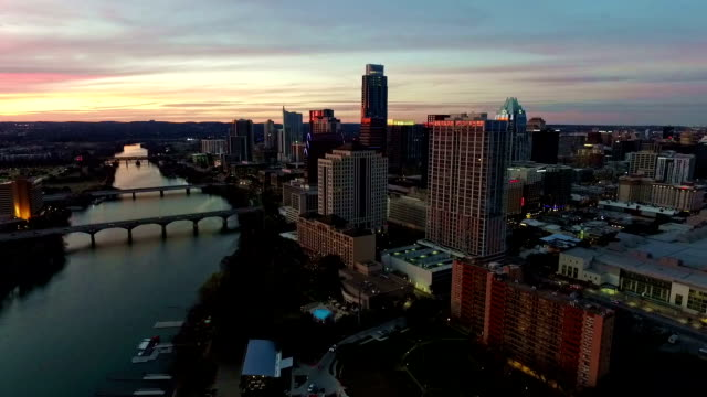Expanding Vast Viewpoint urban technology Dramatic Sunset Aerial Drone View Austin Texas