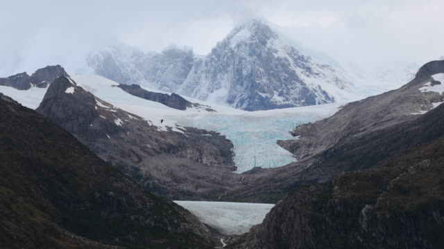 expansive patagonian landscape, with mountain, glacier, cliffs and gull flying - patagonia chile stock videos and b-roll footage