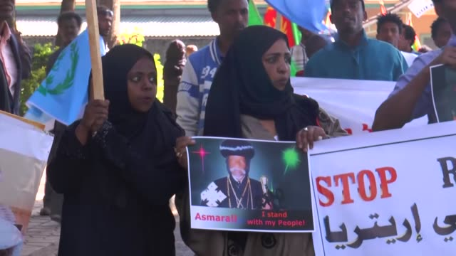 expatriate eritreans living in neighboring ethiopia stage a rally to protest what they called religious persecution in their own country on november... - ethiopia stock videos & royalty-free footage