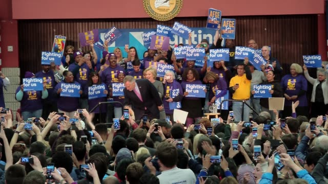 expected democratic party nominee hillary clinton holds a campaign event at george mason university. hall is not quite full - broll - selfie madness.... - nominee stock videos & royalty-free footage