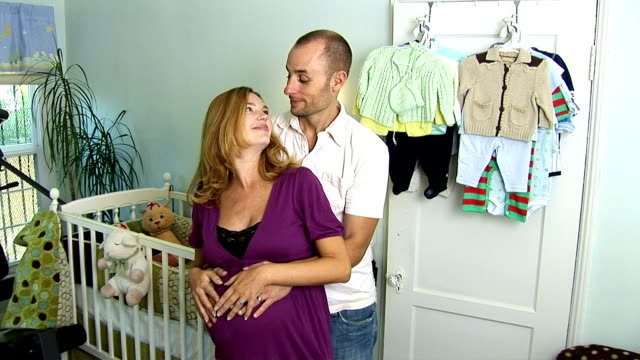 expecting couple - nursery bedroom stock videos & royalty-free footage
