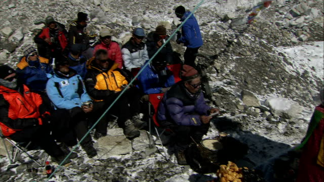 khumbu icefall / sherpa ceremony / base camp views / alpine chough birds more of sherpa ceremony at everest base camp - khumbu stock videos and b-roll footage
