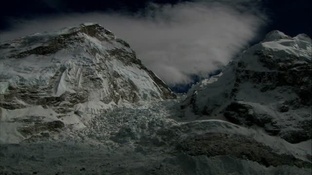 khumbu icefall / sherpa ceremony / base camp views / alpine chough birds good shots of small avalanche coming down side of mountain viewed from... - icefall stock videos and b-roll footage