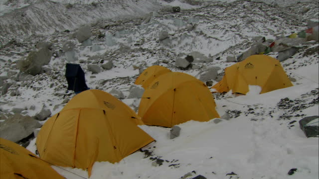 tents at everest base camp; nepal: himalayas: mount everest: ext general views of yellow tents pitched at everest base camp on the khumbu glacier... - base camp stock videos & royalty-free footage