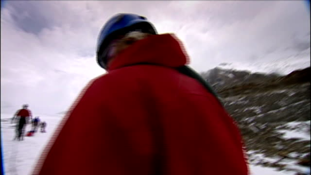 expedition to mark 100th anniversary of scott's journey to south pole switzerland ** music overlaid sot ** various of expedition members pulling... - spiked stock videos & royalty-free footage