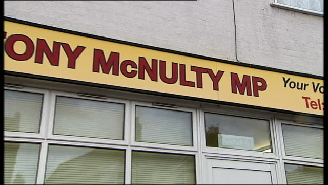 mp expense system to be reviewed england london harrow ext general views of constituency office for tony mcnulty including shot of posters in window - tony mcnulty stock videos & royalty-free footage