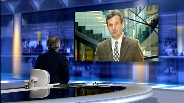 brussells int chris davies 2 way interview from brussells sot discusses expenses abuse allegations - itv lunchtime news stock videos & royalty-free footage