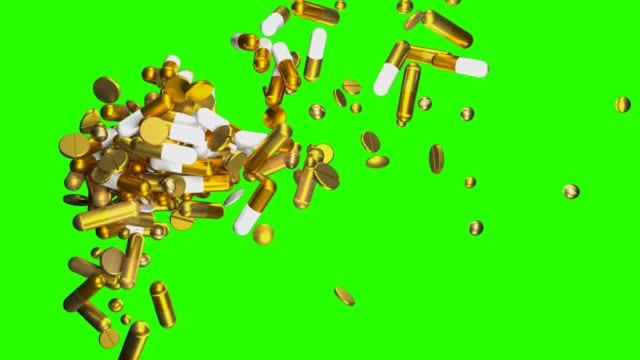 expensive medicine | golden pills | chroma key - ascorbic acid stock videos & royalty-free footage