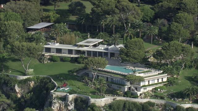 expensive villas on roquebrune-cap-martin - villa stock videos & royalty-free footage