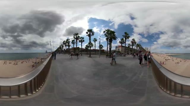 experiencing a view of barcelona through 360 view point - 360 video stock videos & royalty-free footage