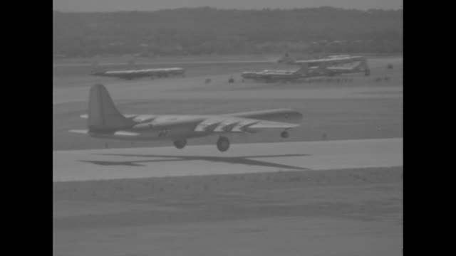 vs xb36 experimental fourmotored strategic bomber designed by consolidated vultee aircraft corporation taxis on runway the plane will later be... - bomber plane stock videos and b-roll footage