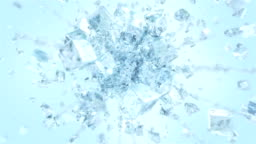 Exploding frosted ice cube in 4K