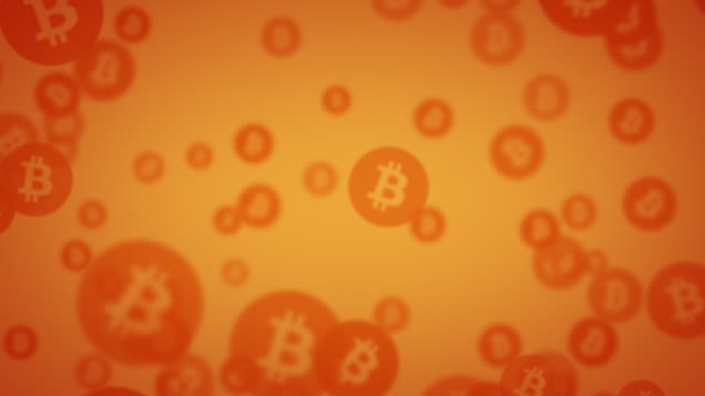 exploding orange bitcoin symbols animation - digital animation stock videos & royalty-free footage