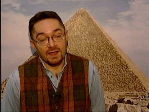 vídeos de stock e filmes b-roll de exploration of great pyramid itn london richard parkinson interview sot second door is a scientific discovery of great importance marcel maree... - pyramid