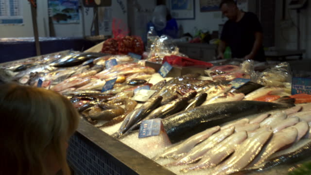 explore fish market place in santa cruz tenerife spain 4k video - cultura mediterranea video stock e b–roll