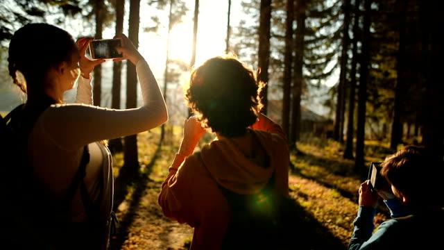 エクスプ ローラー家族の森の端の冒険 - 写真撮影点の映像素材/bロール