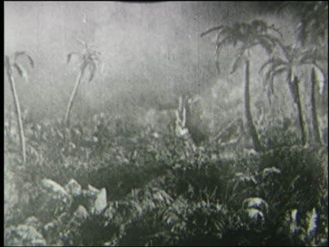 B/W explorer watches running triceratops + stegosaurus in steamy jungle