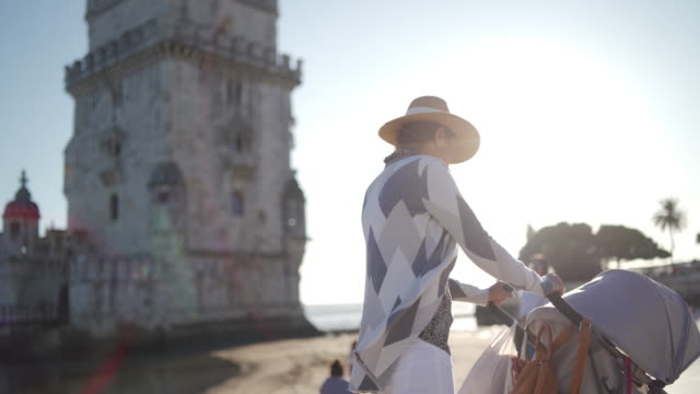exploring belem tower with my baby boy - portugal stock videos & royalty-free footage